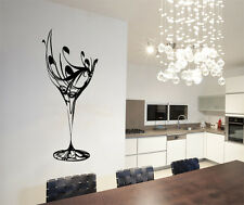 Abstract Wine Glass Wall Art Stickers Decals FREE Applicator Kitchen Cup