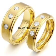 Yellow Gold Tone Comfort Fit Tungsten Carbide CZ Ring Anniversary Wedding Band