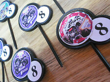 12 MONSTER TRUCK JAM PARTY Cupcake Topper/food picks w/ Custom birthday age