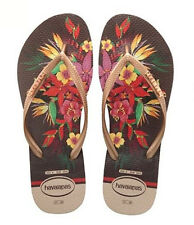 Havaianas Women`s Flip Flops Slim Tropical Sand Grey Floral Sandals Any Size NWT