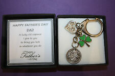 Dad Daddy Uncle LUCKY SIXPENCE KEEPSAKE CHARM KEYRING Fathers Day Gift Present
