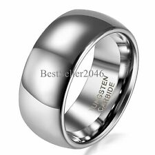 8mm Polish Silver Tone Dome Men's Tungsten Carbide Comfort Fit Ring Wedding Band