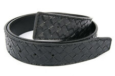100% LEATHER WOVEN Designer BELT STRAP REVERSIBLE BLACK WITHOUT H BUCKLE