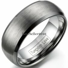 8mm Tungsten Carbide Men's Brushed Dome Wedding Band Comfort Fit Ring  Size 8-12