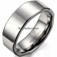8mm High Polished Comfort Fit Tungsten Carbide Ring Wave Unisex Wedding Band