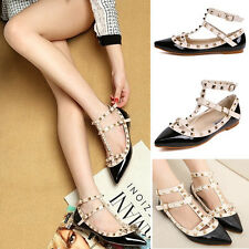 Fashion Lady's Punk Point Toe Metal Studded Ankle Strap Flats Causal Shoes