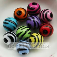 10/12/16/20MM Assorted Colors Acrylic Zebra Striped Round Spacer Beads Charm  Fr