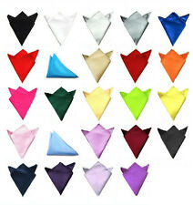 Mens Wedding Party Solid Color Satin Pocket Square Hankerchief Hanky Multicolor