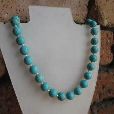 FAUX TURQUOISE HOWLITE GEMSTONE ROUND BEAD NECKLACE - KNOTTED - ASSORTED SIZES