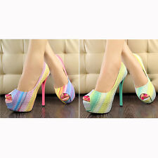 Kay Womens Peep Toe Stiletto High Heel Platform Pumps Party Club Rainbow Shoes