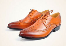 FASHION MENS OXFORD BROGUE WING TIP FAUX LEATHER CASUAL DRESS SHOES BLACK/BROWN