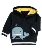 GYMBOREE BUBBLY WHALE NAVY w/ WHALE PULL-OVER HOODY 0 3 6 NWT