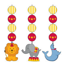 Circus Time Party Lion, Elephant & Sea Lion Hanging Swirl Decorations 3 - 18pk