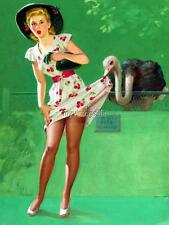 Retro Sexy Pin-up girl Cherry Dress at Zoo Vintage 3 sizes Quilting Fabric Block