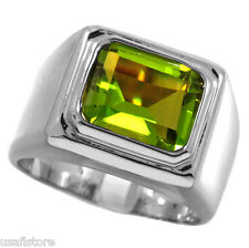 Mens Peridot Solitaire Silver Stainless Steel Ring