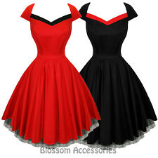 RKH51 Hearts & Roses Flared Pin Up Party Rockabilly Dress 50's Vintage Swing