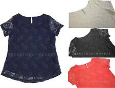 NEW Women's Leo & Nicole Lace Overlay Short Sleeve Blouse! Variety Colors & Size