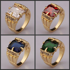 New Men's 18KGP Yellow Gold Plated Sapphire Peridot Birthday Size 10 11 12 RING
