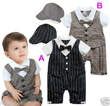 Baby Boy Bodysuit Outfit Bow Tie Christening Wedding Birthday Formal with cap