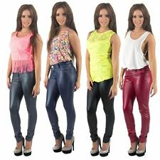 Womens New Wet Look Shiny Super Skinny Jeggings Leggings Faux Leather