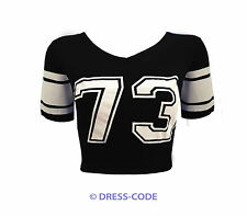 NEW LADIES VARSITY 85 NUMBER PRINT SHORT STRIPED CROP TOP T SHIRT SIZE 8-14