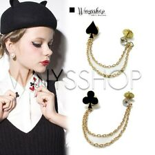 Women Collar Tips Bling Double Chain Cute Pointed Studs Pin Brooch Blouse Shirt