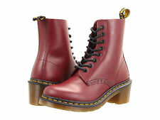Dr. Martens Women`s Clemency 8-Tie heel Cherry Red Smooth Boot ALL SIZES!!!