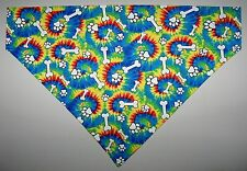 Blue Yellow Tie Dye Bone Paw Dog Bandana Scarf-Slide over Collar-Small to XLarge