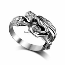 Polished Silver Stainless Steel Kissing Lovers Engagement Anniversary Ring