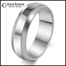 8MM Women Men Brief Style Titanium Stainless Steel Band Rings Size 7-13 Wedding