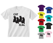 Youth Kids Childrens Cat Black Flag Funny Hipster Kittens T-shirt Age 5-13 Years