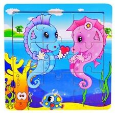 FD418 Baby Kids Educational Training Toy 9Pcs Wooden Puzzle ~Hippocampal Twins-
