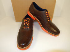 NEW COLE HAAN GREAT JONES C11235 CHESTNUT/ORANGE TRIM LEATHER FASHION WINGTIPS