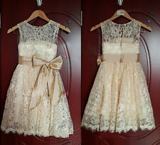 Light champagne Princess Lace Bow Trimmed Baby Girl Princess Flower Girl Dress,