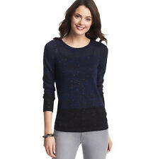 NWT Ann Taylor LOFT Sequin Colorblocked Sweater Blue Black 315761 XS S M XL