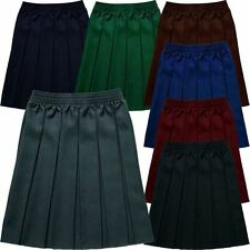 Junior Girls Fully Elasticated Box Pleat Skirt in 7 Colours.  Waists 18in - 36in