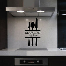 Kitchen Vinyl Wall Lettering Seasoned with Love Knife Fork Spoon Decal Sticker