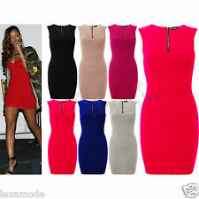 Womens Sexy Mini Dress Rihanna Bandage Bodycon Ribbed Stretch Zip Up Size 8 - 14