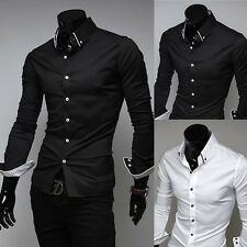 Mens Luxury Casual Slim Fit Stylish Solid Color Long Sleeve Dress Shirts Tops