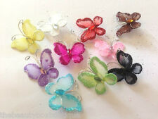 WIRED MESH BUTTERFLY -  EMBELLISHMENTS GLITTER CRAFT BOWS WITH RHINESTONES