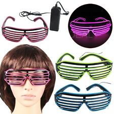 El Wire Fashion Neon LED Light Up Shutter Shaped Glasses Rave Costume Party @E6