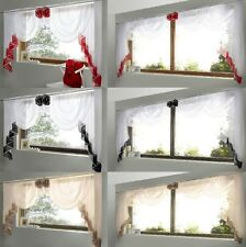 PLAIN MODERN WINDOW VOILE VALANCE SWAGS AND TAIL SET WITH COLOURED TRIM ROSETTE