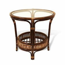 PELANGI ROUND WICKER COFFEE TABLE WITH GLASS HANDMADE NATURAL RATTAN FURNITURE