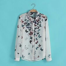 New Fashion Womens Button Down Shirts Butterfly Printed Ladies Blouse