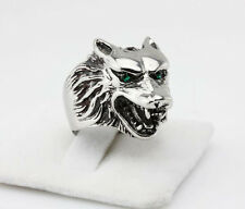 Werewolf Grinning 316L Stainless Steel blue stone eye wolf head Ring Size 8-12