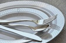 Bulk, Dinner / Wedding Disposable Plastic Plates & silverware, silver/ gold rim