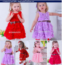 Rose Belted Baby Girls Wedding,Bridesmaid,Birthday Party Dress Age 1 2 3 4 5 6