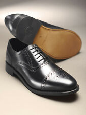 Samuel Windsor Handmade Mens Classic Leather Semi Brogues Lace-up Shoe in Black