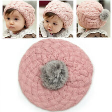 Lovely Toddler Baby Girl Winter Warm Knitted Crochet Beanie Hat Cap 4 Colors
