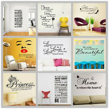 Family Home Bedroom Kids DIY Removable Quotes Wall Stickers Decal Art Decor AU